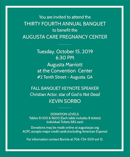 2019 Benefit page 1 | Augusta Care Pregnancy Center